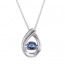 Wholesale Sterling Silver 925 Rhodium Plated Open Teardrop Pendant Necklace with Dancing Blue CZ - STP01637BLU