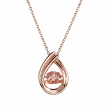 Wholesale Sterling Silver 925 Rose Gold Plated Open Teardrop Pendant Necklace with Pink Dancing CZ - STP01637RGP