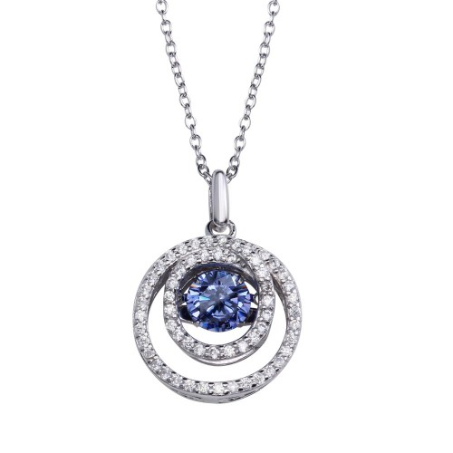 Wholesale Sterling Silver 925 Rhodium Plated Double Open Circle Pendant Necklace with Dancing Blue CZ - STP01638BLU