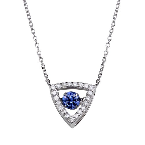 Wholesale Sterling Silver 925 Rhodium Plated Open Triangle Pendant Necklace with Dancing CZ - STP01639BLU