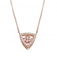 Wholesale Sterling Silver Rose Gold Plated Open Triangle Pendant Necklace with Pink Dancing CZ - STP01639RGP