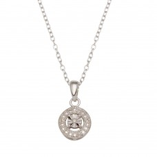 Sterling Silver Rhodium Plated Round Necklace - STP01640