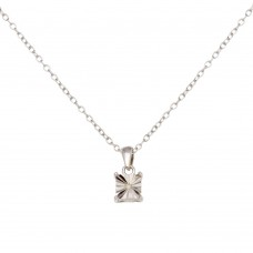 Sterling Silver Rhodium Plated Square Pendant Necklace - STP01641