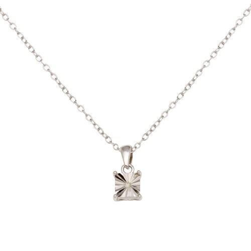 Wholesale Sterling Silver 925 Rhodium Plated Square Pendant Necklace - STP01641