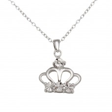 Sterling Silver Rhodium Plated Crown Necklace - STP01642