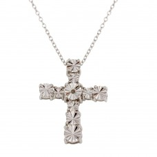 Sterling Silver Rhodium Plated Cross Necklace - STP01643