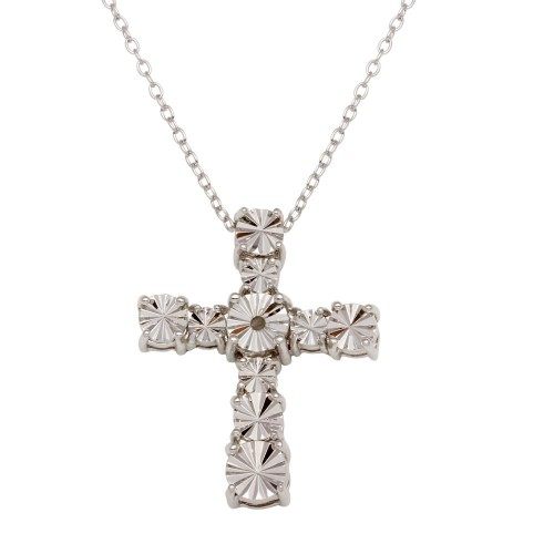 Wholesale Sterling Silver 925 Rhodium Plated Cross Necklace - STP01643
