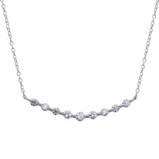 Wholesale Sterling Silver 925 Rhodium Plated Curved Bar Pendant Necklace with CZ - STP01647