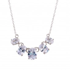 Wholesale Sterling Silver 925 Rhodium Plated 5 CZ Stone Necklace - STP01648