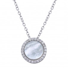 Wholesale Sterling Silver 925 Rhodium Plated Round Opal Pendant Necklace with CZ - STP01649CLR