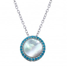 Wholesale Sterling Silver 925 Rhodium Plated Round Opal Pendant Necklace with CZ - STP01649BLU