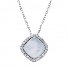 Wholesale Sterling Silver 925 Rhodium Plated Opal Pendant Necklace with CZ - STP01650CLR