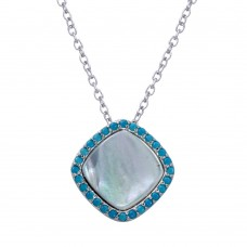 Wholesale Sterling Silver 925 Rhodium Plated Square Opal Pendant Necklace with CZ - STP01650BLU