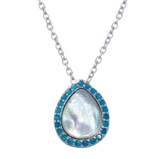 Wholesale Sterling Silver 925 Rhodium Plated Opal Teardrop Pendant Necklace with Blue CZ - STP01651BLU