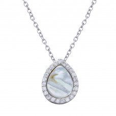 Wholesale Sterling Silver 925 Rhodium Plated Opal Teardrop Pendant Necklace with CZ - STP01651CLR