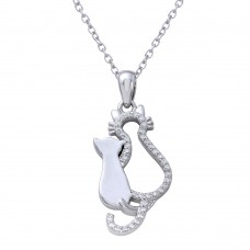 Sterling Silver Rhodium Plated Open Cat and Kitten Necklace with CZ - STP01652