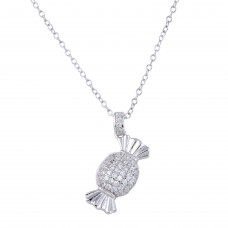 Wholesale Sterling Silver 925 Rhodium Plated Candy Pendant Necklace with CZ - STP01653
