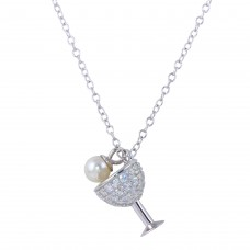 Wholesale Sterling Silver 925 Rhodium Plated Wine Glass Pendant Necklace with CZ and Synthetic Pearl - STP01654