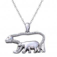 Wholesale Sterling Silver 925 Rhodium Plated Bears Necklace with CZ - STP01657
