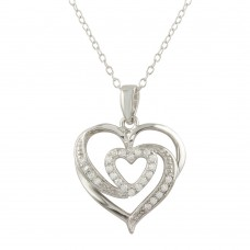 Wholesale Sterling Silver 925 Rhodium Plated Heart Pendant Necklace with CZ - STP01658