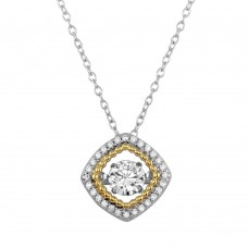 Wholesale Sterling Silver 925 Rhodium Plated Open Square Necklace with Dancing CZ - STP01659