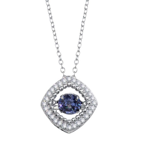 Wholesale Sterling Silver 925 Rhodium Plated Open Rhombus Necklace with Dancing CZ - STP01659BLU