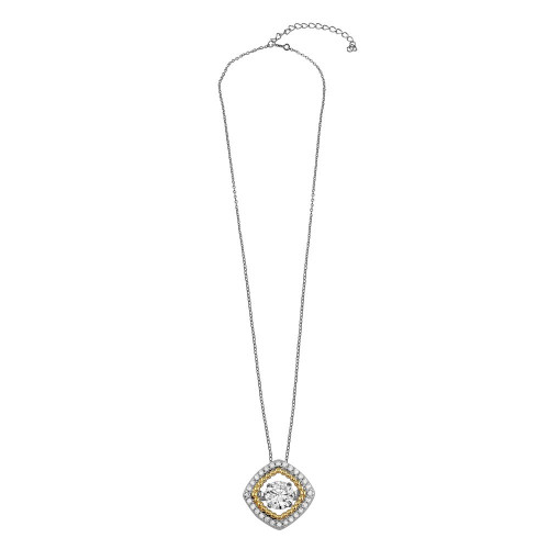 Wholesale Sterling Silver 925 Rhodium Plated Open Rhombus Necklace with Dancing CZ - STP01659