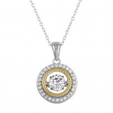 Wholesale Sterling Silver 925 Rhodium Plated Open Pendant Necklace with Dancing CZ - STP01660