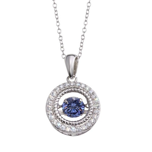 Wholesale Sterling Silver 925 Rhodium Plated Open Pendant Necklace with Blue Dancing CZ - STP01660BLU