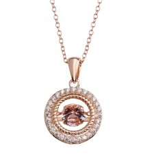 Wholesale Sterling 925 Rose Gold Plated Open Pendant Necklace with Dancing CZ - STP01660RGP