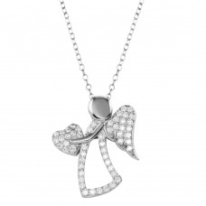 Wholesale Sterling Silver 925 Rhodium Plated CZ Angel with Heart and Wings - STP01661