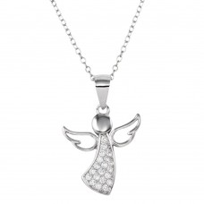 Wholesale Sterling Silver 925 Rhodium Plated Angel Pendant Necklace with CZ - STP01662