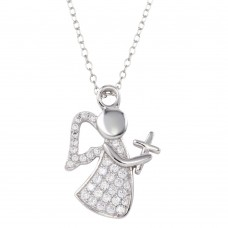 Wholesale Sterling Silver 925 Rhodium Plated CZ Angel with Cross and Wings - STP01663