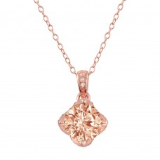 Wholesale Sterling Silver 925 Rose Gold Plated Pink CZ Pendant Necklace - STP01664