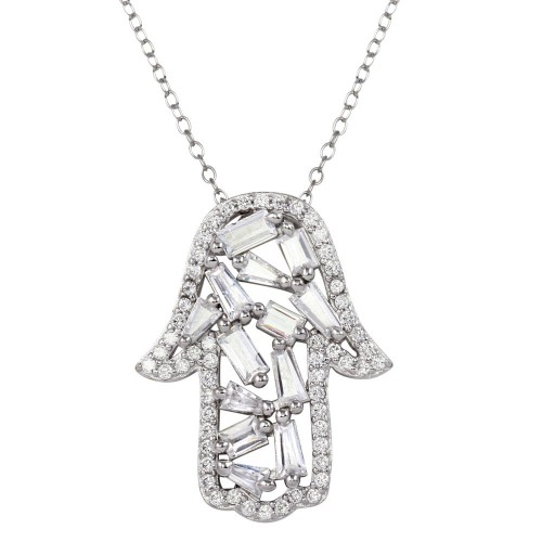 Wholesale Sterling Silver 925 Rhodium Plated Hamsa Pendant Necklace with CZ - STP01666