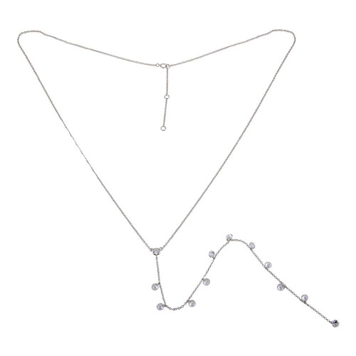 Wholesale Sterling Silver 925 Rhodium Plated Drop CZ Necklace - STP01670