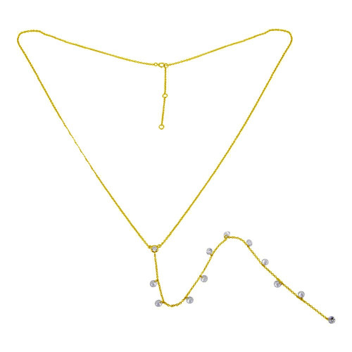 Wholesale Sterling Silver 925 Gold Plated Drop CZ Necklace - STP01670GP