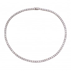 Wholesale Sterling Silver 925 Rhodium Plated Round CZ Tennis Necklace - STP01676
