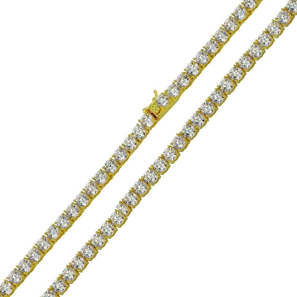 Wholesale Sterling Silver 925 Gold Plated Tennis CZ Necklace 4mm - STP01676GP