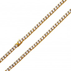 Wholesale Sterling Silver 925 Gold Plated Tennis CZ Necklace 4mm -  STP01676GP e34183511