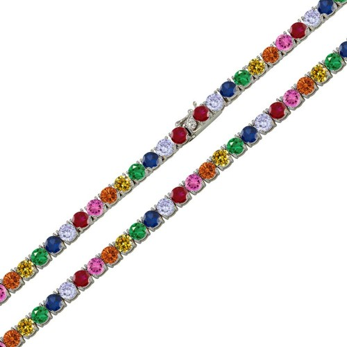 Wholesale Sterling Silver 925 Rhodium Plated Rainbow Round CZ Link Chains 4mm - STP01676RB