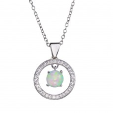 Wholesale Sterling Silver 925 Rhodium Plated Open Circle Pendant Necklace with Synthetic Opal - STP01678RH