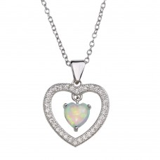 Wholesale Sterling Silver 925 Rhodium Plated Open Heart Pendant Necklace with Synthetic Opal and CZ - STP01679RH