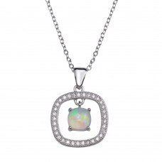 Wholesale Sterling Silver 925 Rhodium Plated Open Rounded Square Pendant Necklace with Synthetic Opal and CZ - STP01680RH