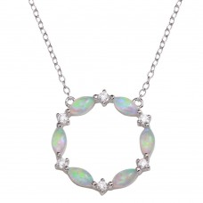 Wholesale Sterling Silver 925 Rhodium Plated Open Circle Pendant with CZ and Synthetic Opal - STP01681RH