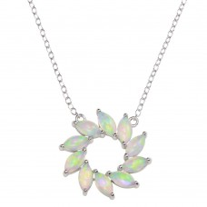 Wholesale Sterling Silver 925 Rhodium Plated Open Round Synthetic Opal Pendant Necklace - STP01682RH