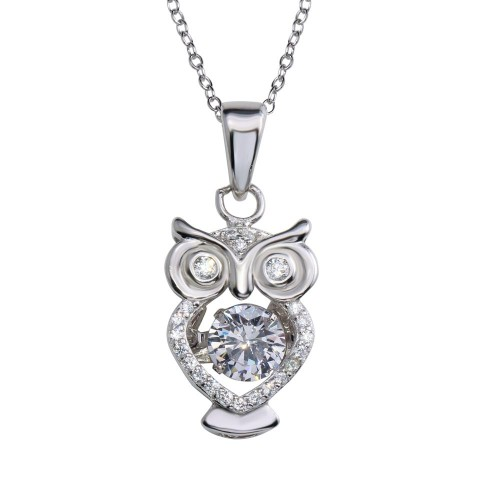 Wholesale Sterling Silver 925 Rhodium Plated Owl Pendant Necklace with Dancing CZ - STP01683RH