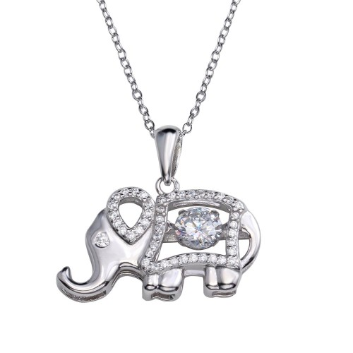 Wholesale Sterling Silver 925 Rhodium Plated Elephant Pendant Necklace with Dancing CZ - STP01684RH