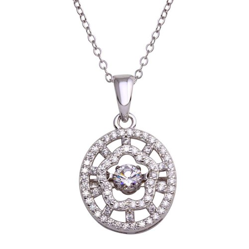 Wholesale Sterling Silver 925 Rhodium Plated CZ Cut Out Clover Design Dancing CZ Necklace - STP01689