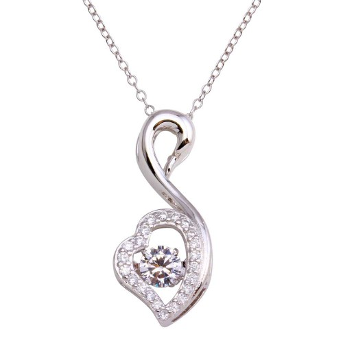 Wholesale Sterling Silver 925 Rhodium Open Swan Dancing CZ Necklace - STP01694